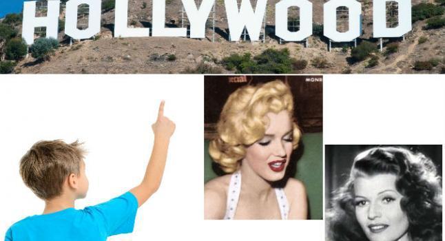 Cartel de Hollywood. (Shutterstock *) Abajo a la izquierda: una foto de archivo de un chico señalando. (Shutterstock *) 2 º Derecha: Marilyn Monroe en la portada de la edición enero 1954 de la revista Now. (Wikimedia Commons) Abajo a la derecha: La actriz Rita Hayworth (Wikimedia Commons)