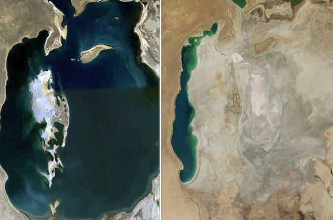 Una comparación del Mar de Aral en 1989 (izquierda) y 2014 (derecha) (Crédito: NASA)