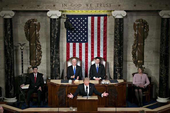 Presidente Trump en su primer discurso en el Capitolio el 28 de febrero de 2017. Foto: Andrew Harrer/Bloomberg via Getty Images