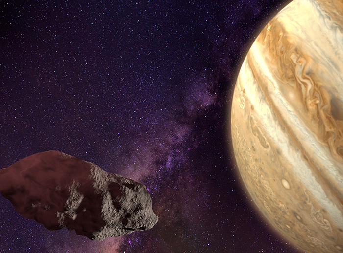 Un asteroide rebelde enfrenta a Jupiter