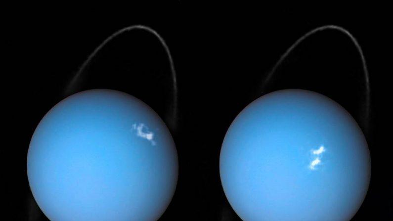 Espectacular imagen de Urano, el séptimo planeta del Sistema Solar, con su color azulado, sus anillos y las brillantes auroras. (NASA-HUBBLE-ESA)