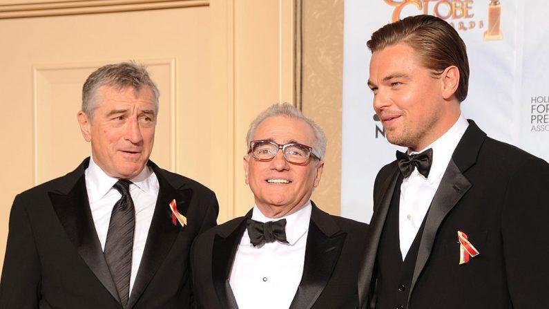 Leonardo DiCaprio, Martin Scorsese y Robert De Niro, juntos en una nueva película (foto Kevin Winter/Getty Images)