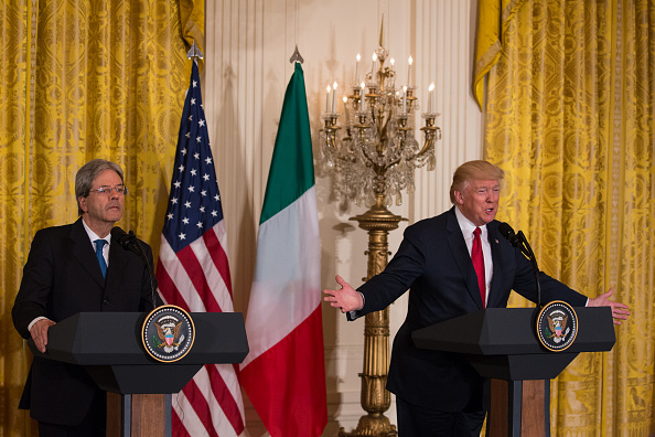 Trump y Gentiloni en comparecencia conjunta en la Casa Blanca. (Photo by Cheriss May/NurPhoto via Getty Images).