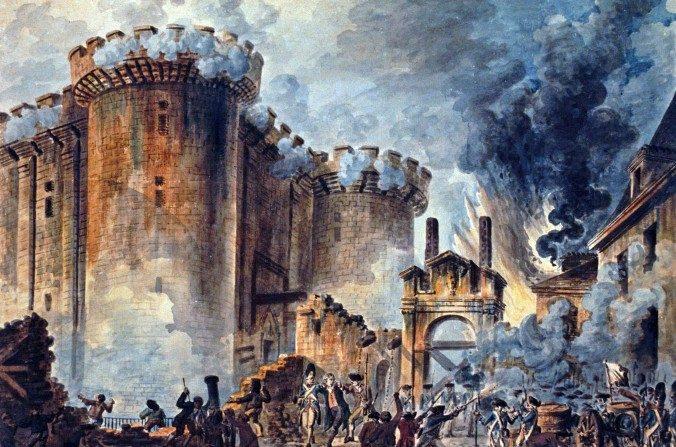 Un cuadro de Jean-Pierre Houël de 1789 retrata la irrupción en la Bastilla al comienzo de la Revolución Francesa. (Creative Commons/Wikimedia)