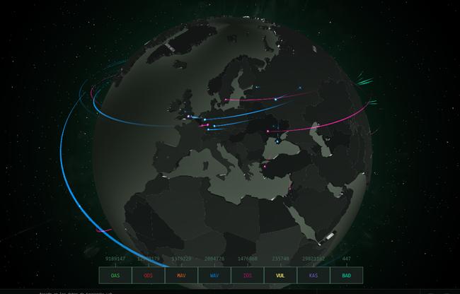 Crean mapa mundial con los ciberataques en tiempo real