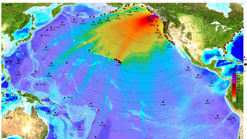 Mapa de la amplitud máxima de la onda del tsunami del 27 de octubre de 2012 en Queen Charlotte Island, Canadá, estudiado para detectar tsunamis.(Crédito: NOAA Centro de Investigación de Tsunami)