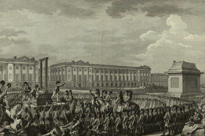 Un grabado que muestra la decapitación de Luis XVI durante la Revolución Francesa. (Bibliothèque nationale de France)