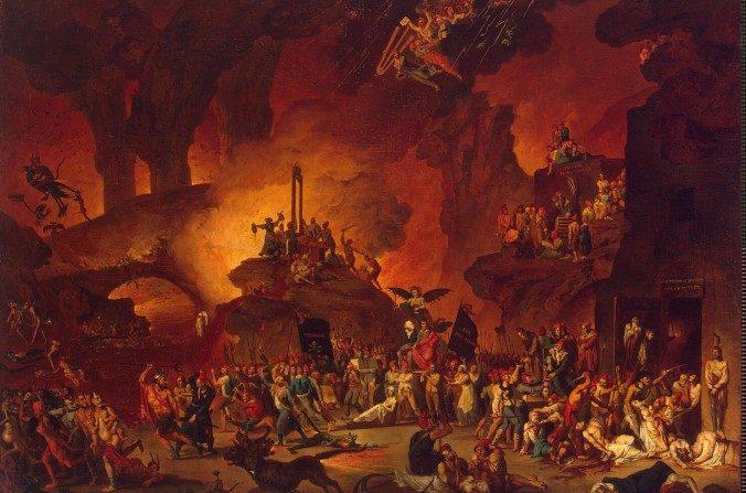 """Una pintura del siglo XVIII presenta los horrores del Reinado del Terror de la Revolución Francesa, la cual se representa como una escena en el Infierno. (Nicolas-Antoine Taunay, """"Le Triomphe de la Guillotine"""")"""