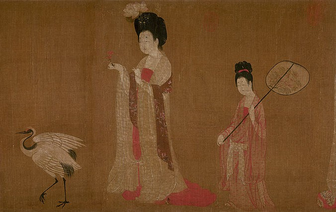 """""""Damas de la Corte visten tocados floreados"""", por ZhouFang. Hechoen seda a mano, 46 por 180 cms. Museo Provincial de Liaoning, provincia de Shenyang, China. (Dominio público)"""