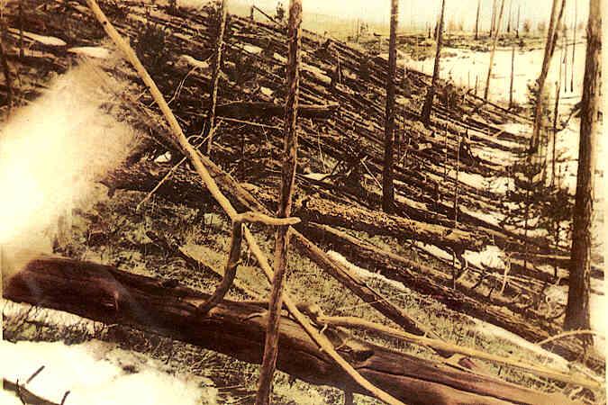 El bólido de 80 m de diámetro que cayó en Tunguska, Rusia en 1908 arrasó con bosques como muestra la imagen captada en 1929. (Imagen: Leonid Kulik vía Wikipedia)