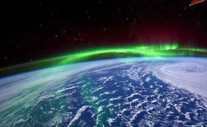 """Imagen del video de la aurora boreal que a un astronauta de la NASA le pareció """"salsa de burrito"""" (Imagen: NASA)"""