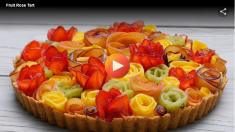 Tarta de Rosas de Frutas (sin hornear)