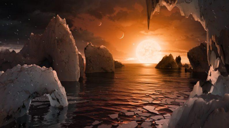 El sistema de Trappist-1 cuenta con una zona habitable inusualmente grande y se encontraron evidencias de que puede tener condiciones para albergar vida. (NASA)