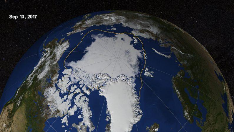 Como ha decrecido el casquete polar en 2017 - Imagen NASA