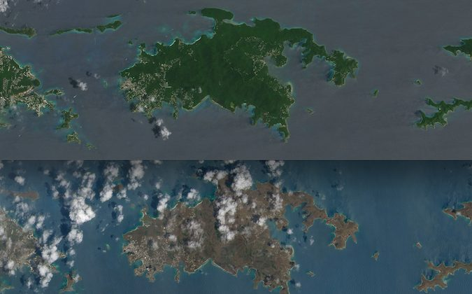 Fotografías antes y después del paso del huracán Irma en la isla de San Juan revelan cambios en el color del Caribe. (Collage con fotos del satélite Landsat 8 de la NASA)