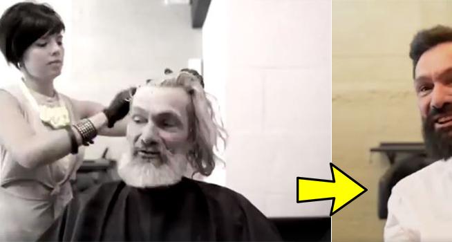 Le ofrecieron un cambio de imagen a un hombre sin hogar y el resultado es impresionante