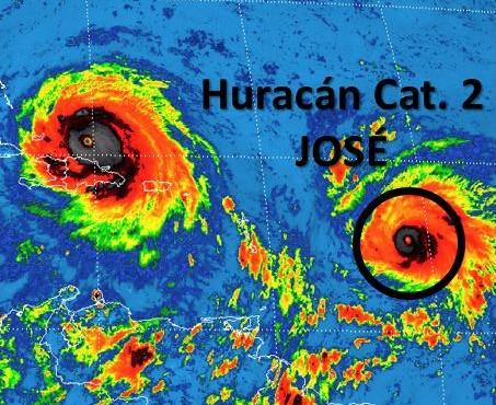 El huracán José aumentó su fuerza para convertirse en un ciclón de categoría 2 y se prevé será un gran huracán. (Recorte SMN)