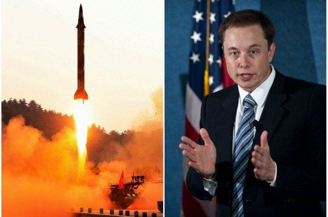 Izq: El lanzamiento de un misil balístico en un lugar no revelado en Corea del Norte en una foto sin fecha publicada por la agencia central de noticias de Corea del Norte el 30 de mayo de 2017. (STR / AFP / Getty Images); Der: El CEO de SpaceX, Elon Musk, desvela el cohete Falcon Heavy en el National Press Club de Washington el 5 de abril de 2011. (NICHOLAS KAMM / AFP / Getty Images)