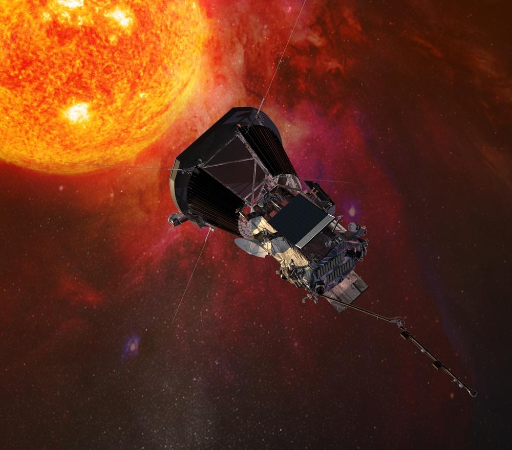 Ilustración de la nave Parker Solar Probe acercándose al sol. (Foto NASA)