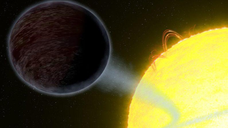 """Astrónomos descubren por qué """"come luz"""" un candente exoplaneta conocido como WASP-12b. (Imagen: NASA, ESA y G. Bacon/STScI)"""