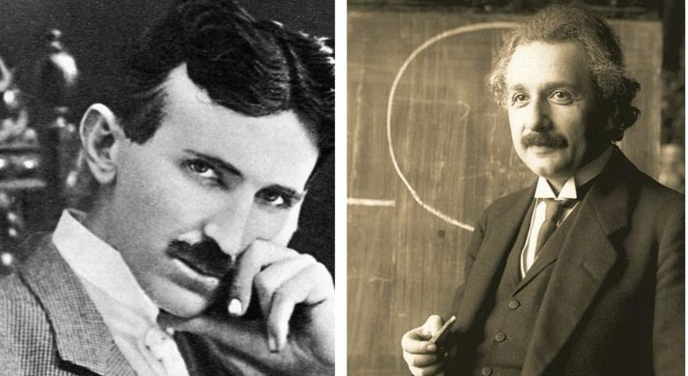 Albert Einstein y Nikola Tesla, no coincidieron en muchos de sus planteamientos y propuestas, pero sin duca ambos revolucionaron la ciencia de su tiempo. (Collage de fotos de Wikimedia Commons)