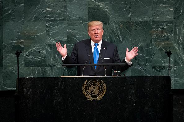 Donald Trump en su discurso en la ONU. Foto:  Drew Angerer/Getty Images.