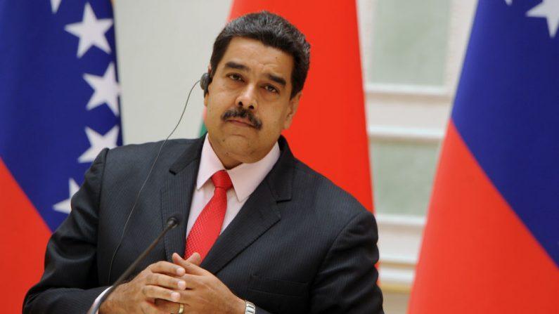 El presidente venezolano, Nicolás Maduro, en una conferencia de prensa conjunta con su homólogo de Belarús tras su reunión en Minsk el 5 de octubre de 2017. (SERGEI GAPON / AFP / Getty Images)
