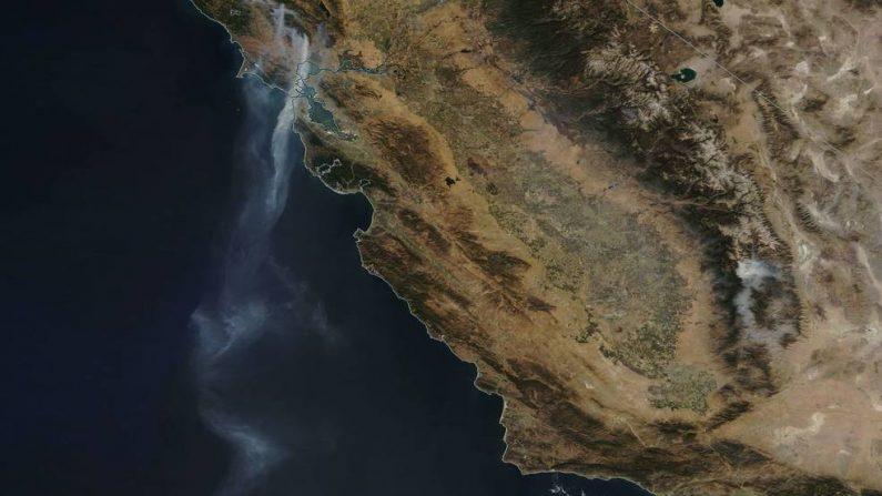 El satélite de la Tierra de la NASA vio una corriente de humo que se extendió a lo largo de 880 km por varios incendios que irrumpieron en el norte de California el 12 de octubre. (NASA-Jeff Schmaltz- MODIS)