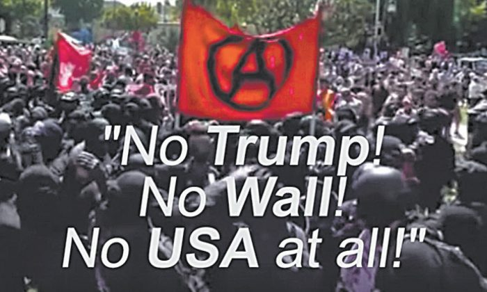 Subtítulos del documental que muestran un cántico de los extremistas de izquierda, pidiendo que se acaben los Estados Unidos y la presidencia de Donald Trump. (Captura de pantalla vía Capital Research Center/Youtube)