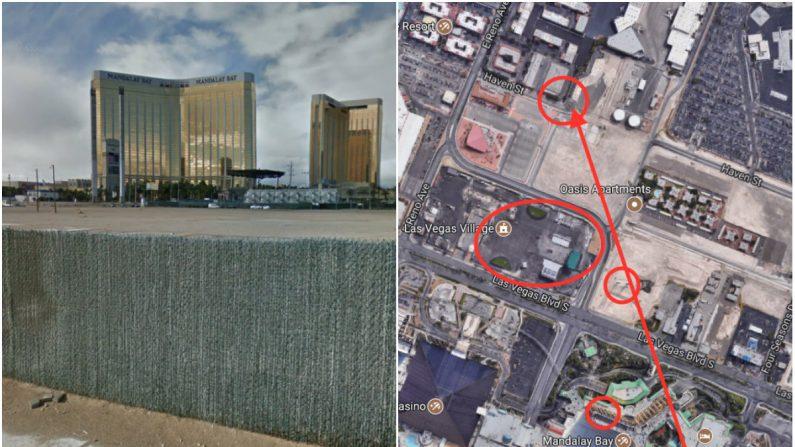 Izq: La ubicación aproximada donde Laura Loomer examinó posibles marcas de bala. (Captura de pantalla a través de Google Street View); Der: (Arriba-abajo) la ubicación donde Laura Loomer examinó posibles marcas de bala, el lugar del concierto que fue el blanco del ataque de Las Vegas el 1 de octubre, las columnas de apoyo de la súper rueda Skyvue Las Vegas no terminada, la ubicación de Stephen Paddocks (habitación de hotel). (Captura de pantalla a través de Google Maps; marcas de La Gran Época)