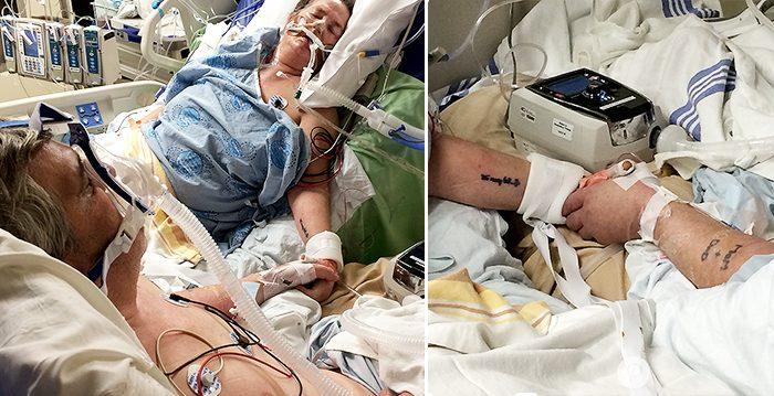 Tomó fotos memorables de sus padres en el hospital tomados de las manos