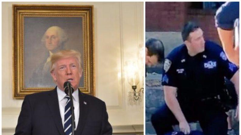 (Foto combinada, Izq: el presidente Trump. Der: Terrorista capturado tras el ataque en Nueva York el 31 de octubre de 2017. Crédito MANDEL NGAN/AFP/Getty Images)