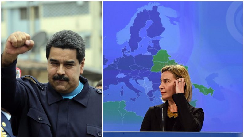 Foto combinada: Nicolás Maduro Nicolaas (izq) y la jefa de política exterior de la Unión Europea, Federica Mogherini. (Crédito Inti Ocon/AFP/Getty Images; JOHN THYS/AFP/Getty Images)