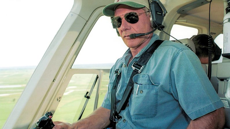 Harrison Ford Flies His Helicopter July 10, 2001 Near Jackson, Wy. Ford Located And Rescued Missing 13-Year-Old Boy Scout Cody Clawson. (Getty Images)