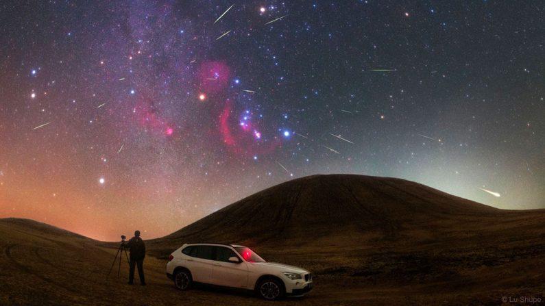 Meteoritos Oriónidas el 30 de octubre de 2017 sobre el volcán Wulan Hada en Mongolia. (Lu Shupei)