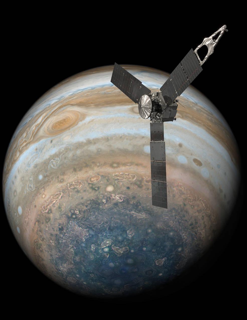 Juno realizó con éxito su último sobrevuelo y después de más de una semana, por fin pudo enviar las tan esperadas imágenes. ( Crédito: NASA/JPL-Caltech)