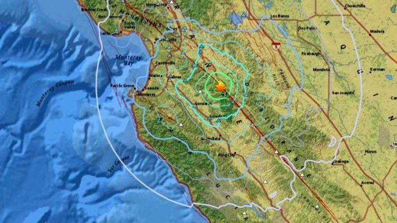 El mapa de los temblores del terremoto de magnitud 4.6. (USGS)
