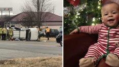 Mujer conducía a su casa cuando de repente choca y vuelca. Ahora busca a la persona quien la ayudó