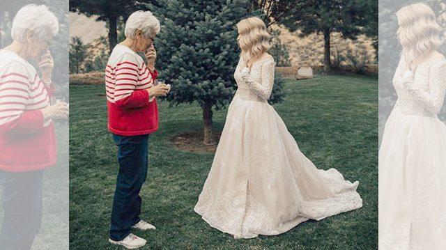 Abuela ve a su nieta por primera vez en vestido de novia. Pero luego ...