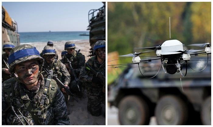 """Izq: Soldados surcoreanos durante un ejercicio en Pohang, en la costa sureste de Corea del Sur, el 12 de marzo de 2016. (Ed Jones/AFP/Getty Images) Der: Un drone de reconocimiento """"Mikado"""" de las fuerzas armadas alemanas. (Patrik Stollarz/AFP/Getty Images)"""