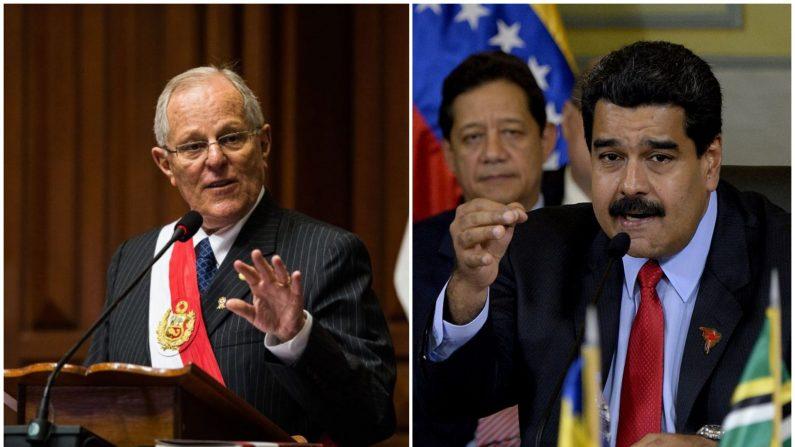 (Foto Combinada, el presidente de Perú, Pedro Pablo Kuczynski (Iz.) y el presidente de Venezuela Nicolás Maduro). (Crédito de ERNESTO BENAVIDES/AFP/Getty Images / FEDERICO PARRA/AFP/Getty Images)