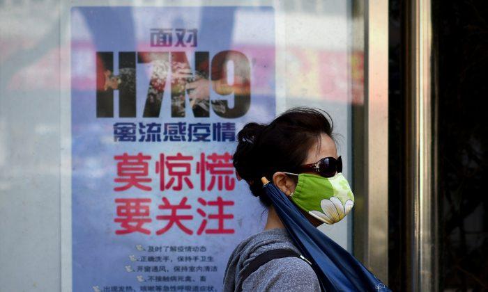Una mujer usa una máscara mientras pasa junto a un cartel que muestra cómo evitar el virus de la influenza aviar H7N9, por una carretera en Beijing el 24 de abril de 2013. (Wang Zhao/AFP/Getty Images)