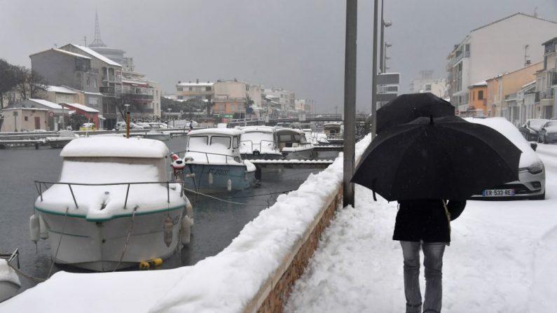 La nieve cubre Palavas-les-Flots, al sur de Francia, el 28 de febrero de 2018.  (PASCAL GUYOT/AFP/Getty Images)