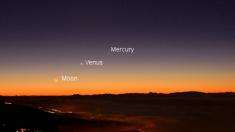 Conjunción planetaria de Venus y Mercurio es visible tras la puesta del Sol