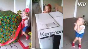 Niña desenvuelve una gran caja misteriosa en su cumpleaños, lo que hace que salte de alegría