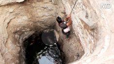 Perro atrapado y a punto de ahogarse en un pozo de 6 metros, entonces, un hombre baja a rescatarlo