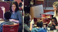 Deja su hijo adoptivo hambriento mientras come con su hija, alguien que los ve se acerca disgustado