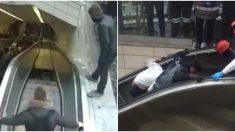 """Un hombre sufre escalofriante accidente al ser """"devorado"""" por una escalera mecánica"""