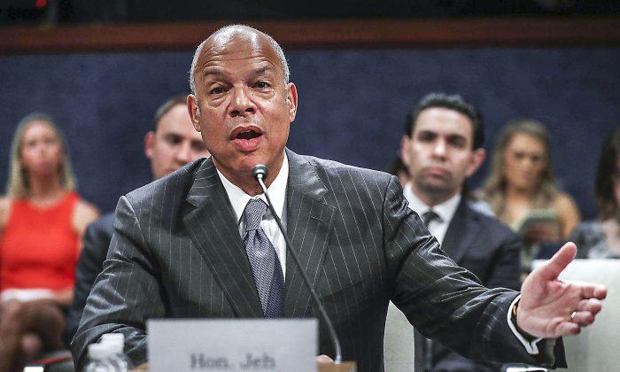 El ex secretario de Seguridad Nacional Jeh Johnson testifica ante el comité de inteligencia de la Cámara el 21 de junio de 2017. (Chip Somodevilla / Getty Images)