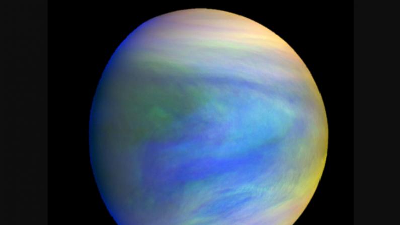 Una imagen compuesta del planeta Venus vista por la sonda japonesa Akatsuki. Las nubes de Venus podrían tener condiciones ambientales que conduzcan a la vida microbiana. (Agencia de Exploración Aeroespacial de Japón)
